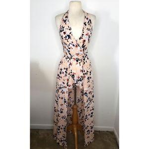 Band of Gypsies Blush Floral Romper Maxi Dress